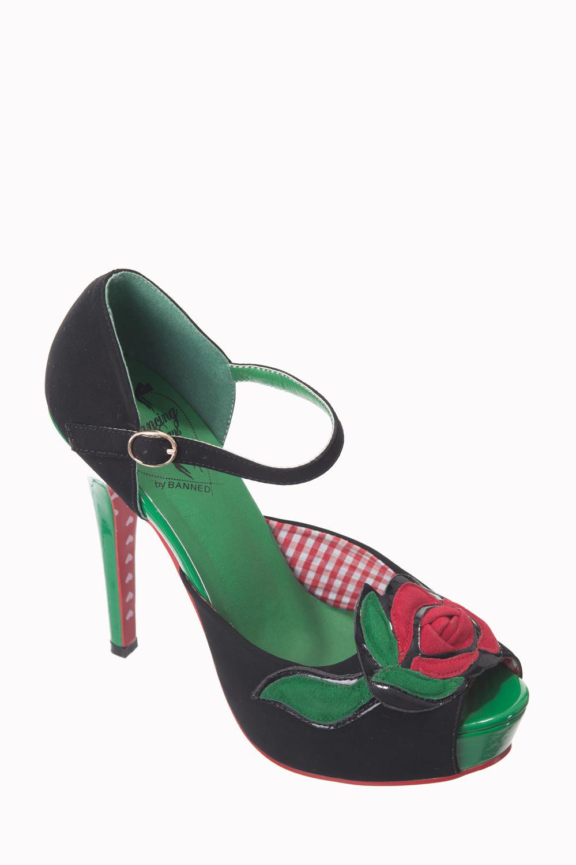 Dancing Days 50s Sage Green Peeptoe Platform Stiletto Shoes