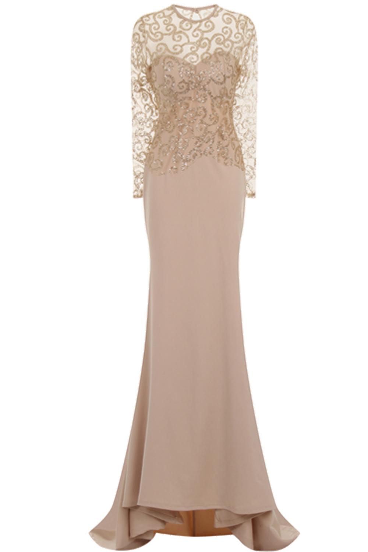Sara Maxi Fishtail Glitter Slinky Dress