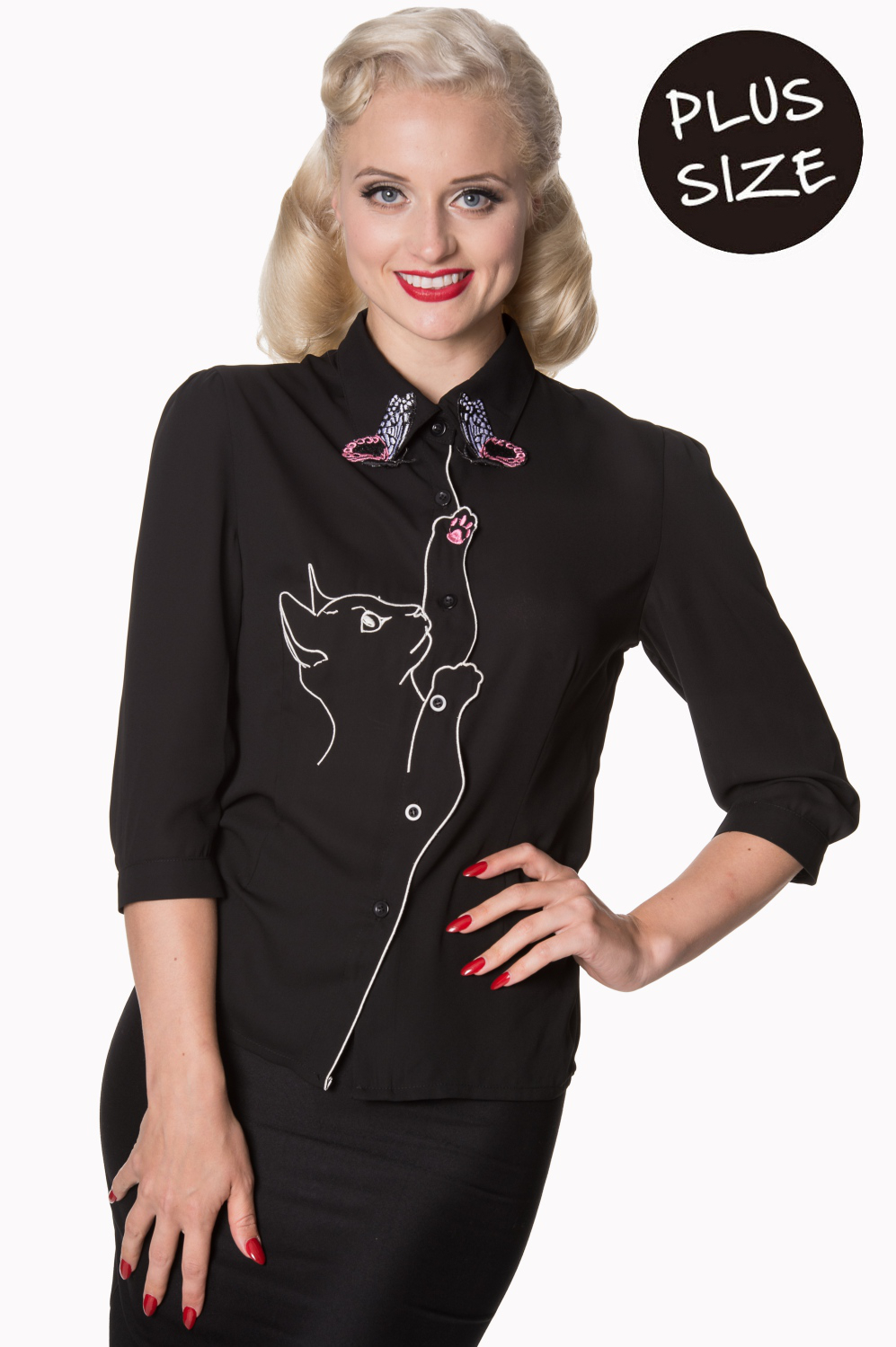 Banned Retro 60s Snowbird Blouse In Black