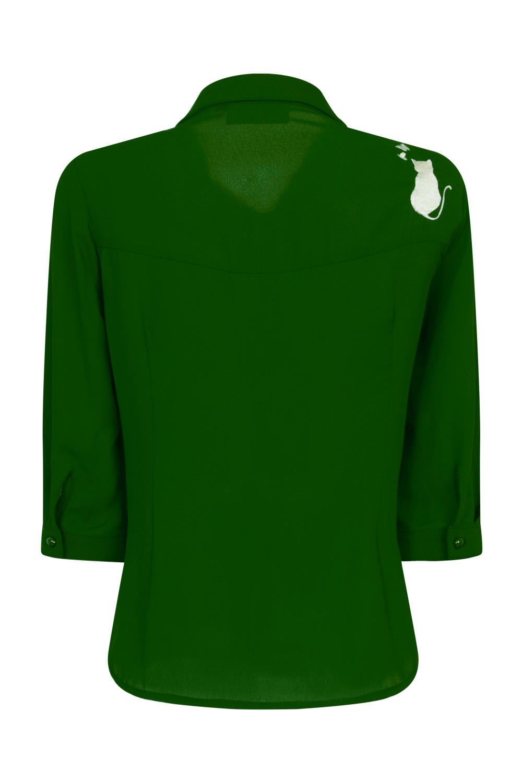 Banned Retro 60s Snowbird Blouse in Emerald
