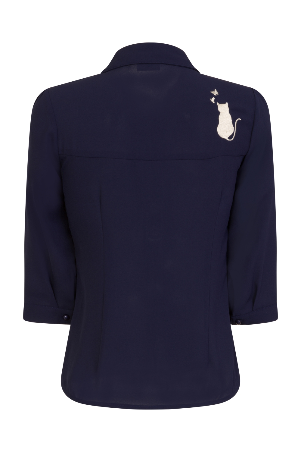 Banned Retro 60s Snowbird Blouse In Night Blue