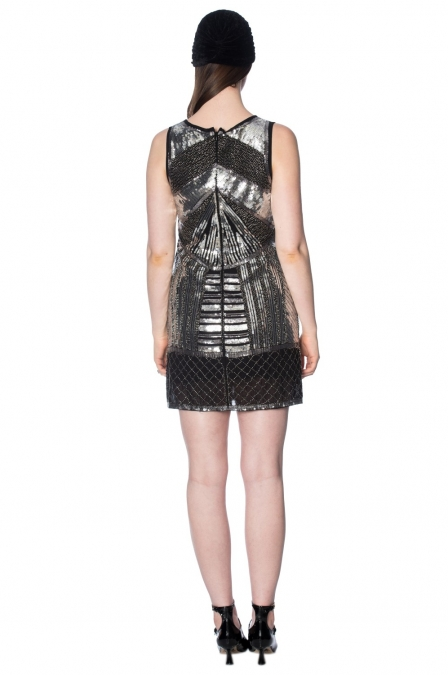 Great Gatsby Black Silver Space Dress