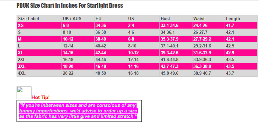 Dancing Days Starlight Dress Size Chart