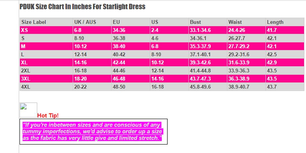 Dancing Days Starlight Dress Size Chart