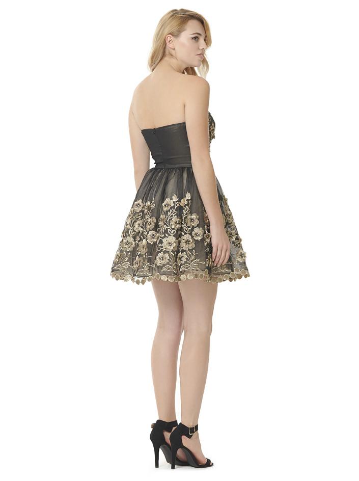 Chi Chi London Premium Bandeau Prom Dress with 3D Floral Applique Detail