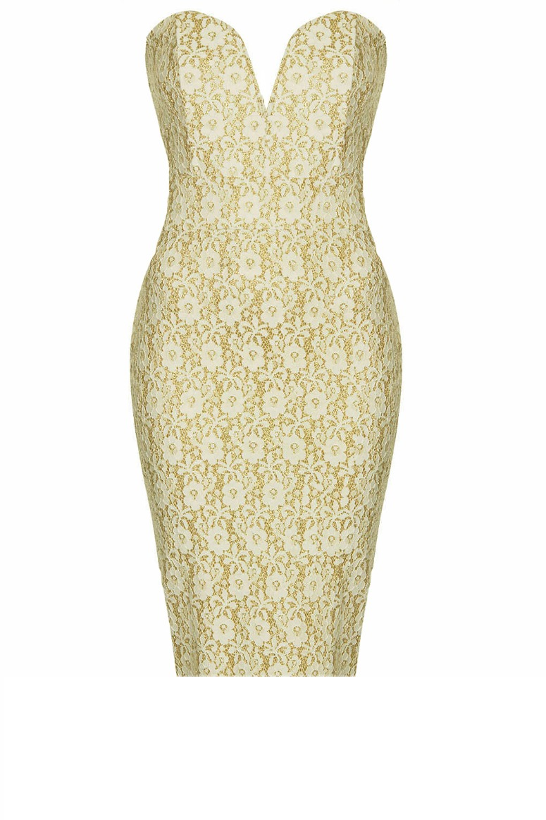 Enlarge TFNC Halo Cream Gold Lace Dres