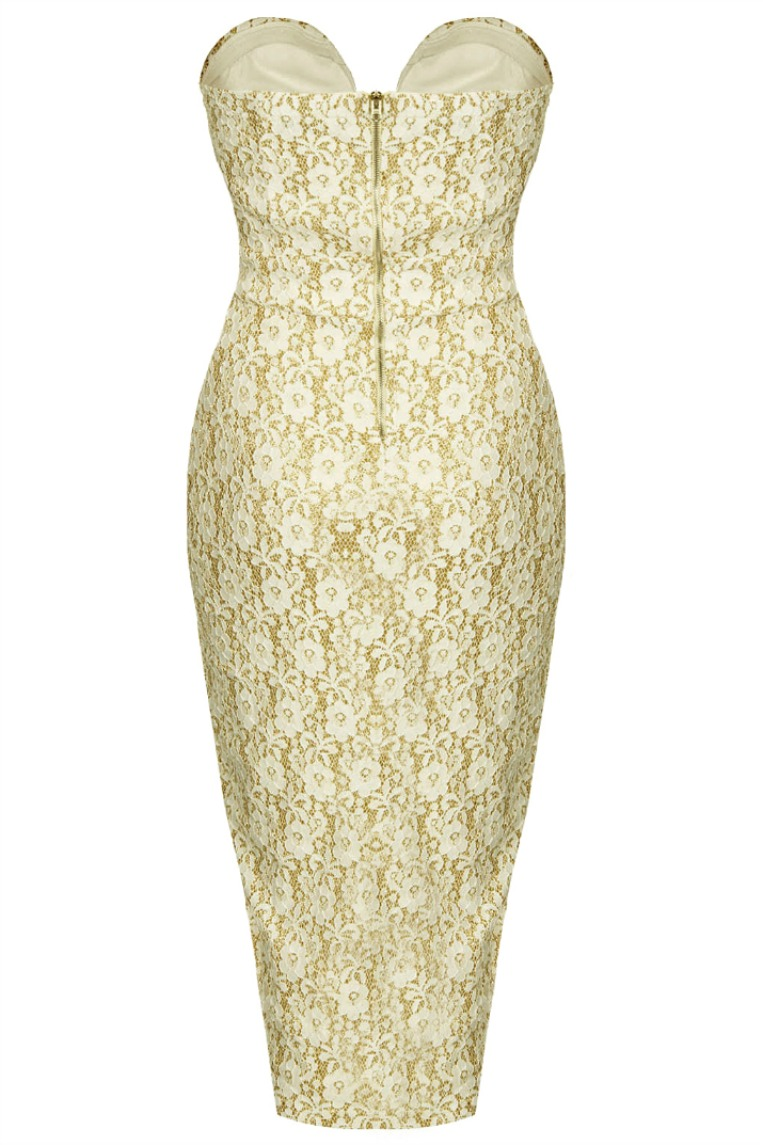 TFNC Cream Gold Glitter Midi Dress