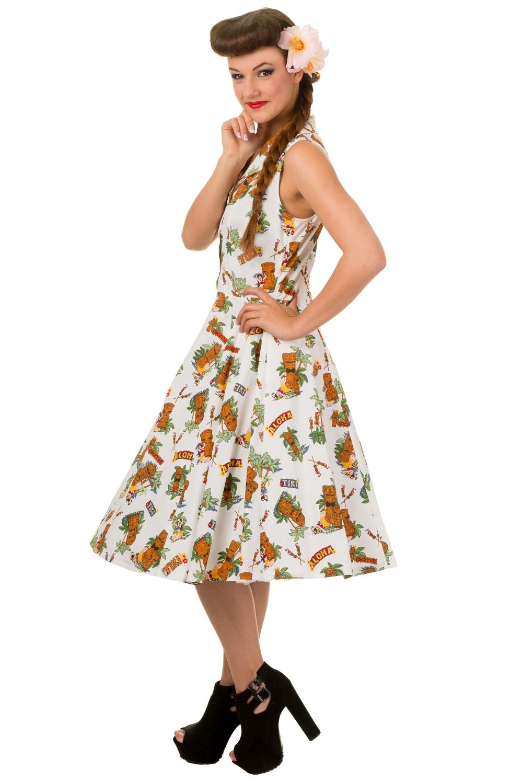 banned vintage tiki dreamer sleeveless dress rockabilly