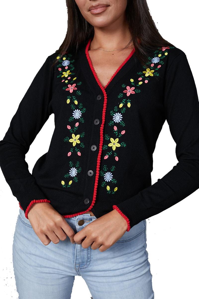 Timeless Black Floral Pom Pom Cardigan