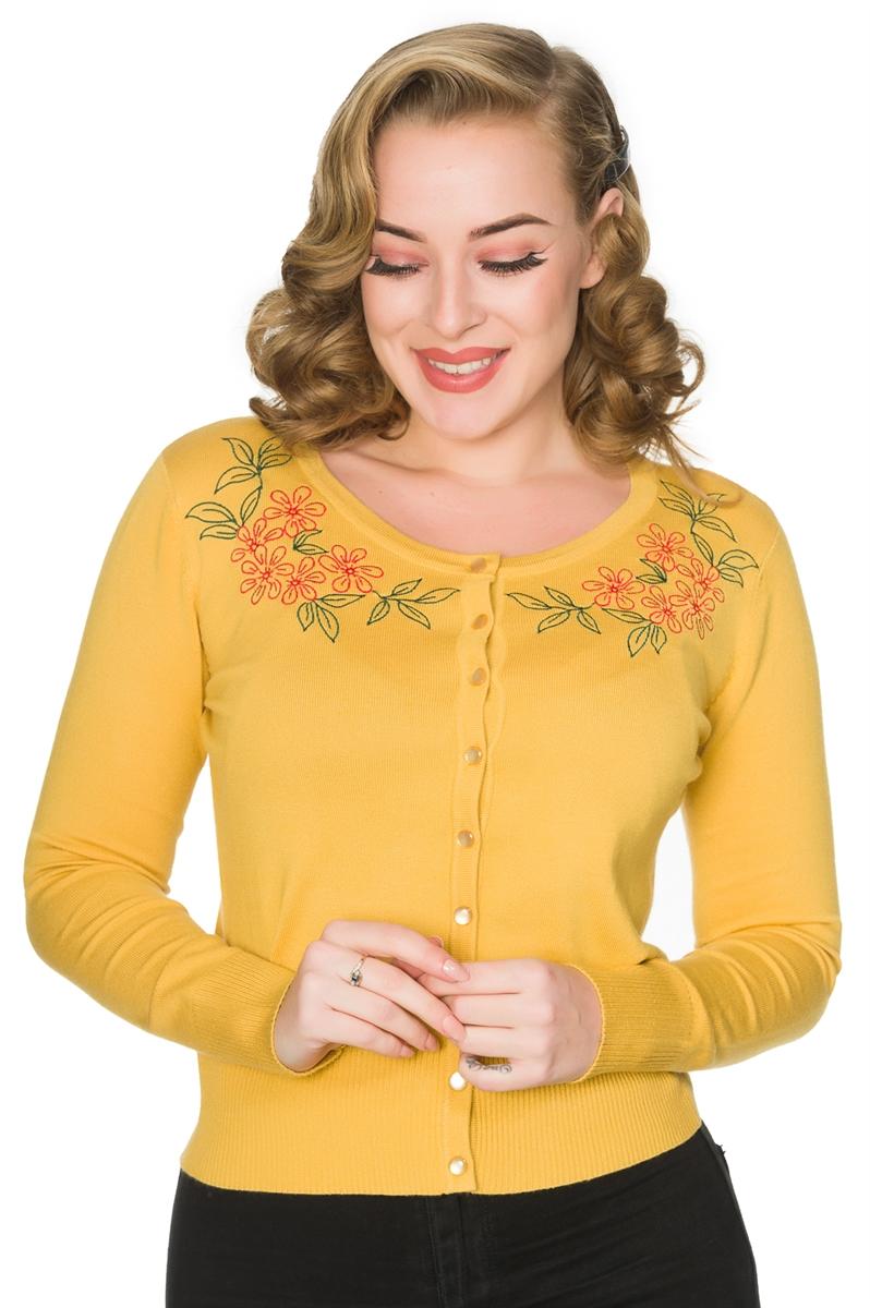 Timeless 50s Nina Retro Rockabilly Mustard Floral Cardigan