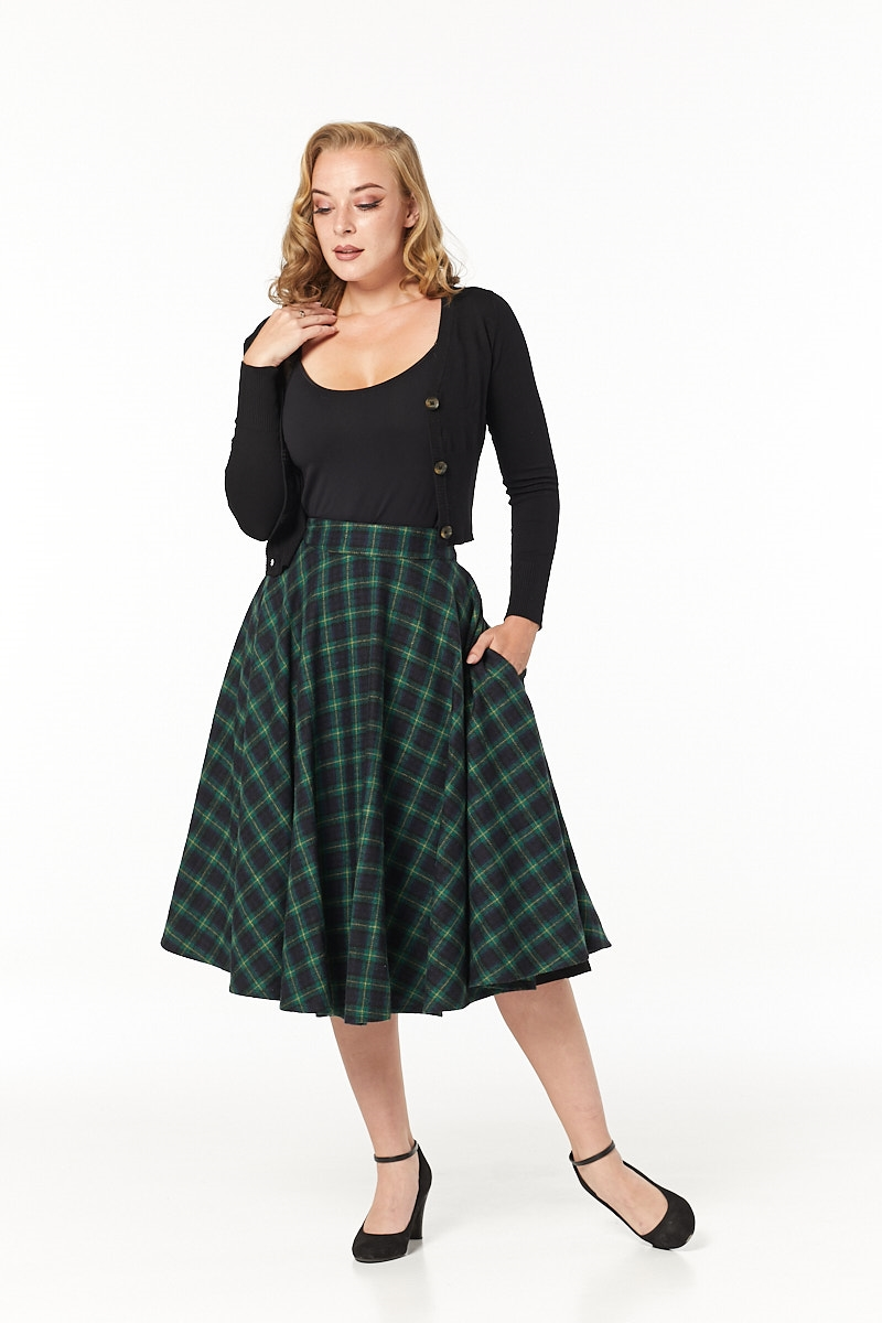 Timeless 40s Sophie Wool Rockabilly Check Forest Green Skirt