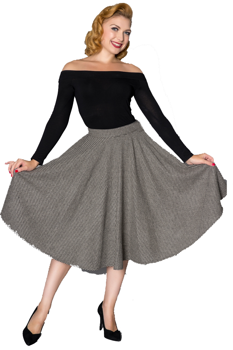 Timeless 40s Sophie Wool Rockabilly Houndstooth Skirt