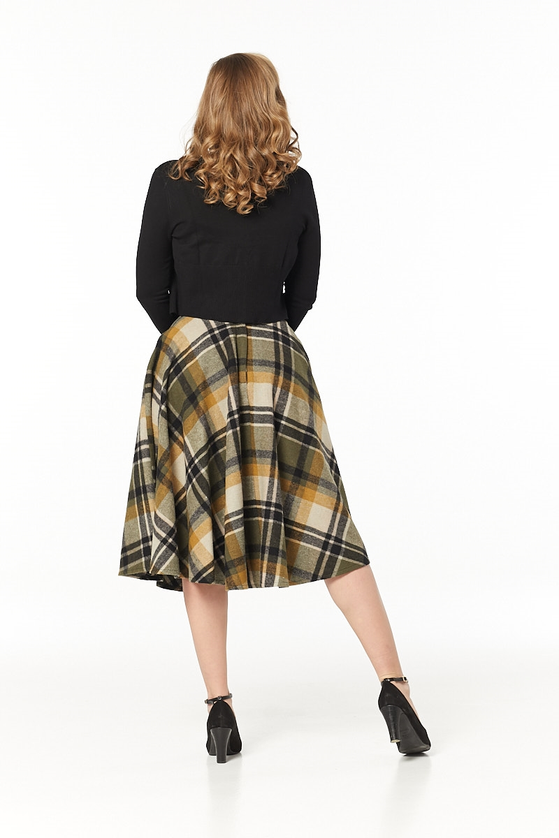 Timeless 40s Sophie Wool Rockabilly Check Khaki Skirt