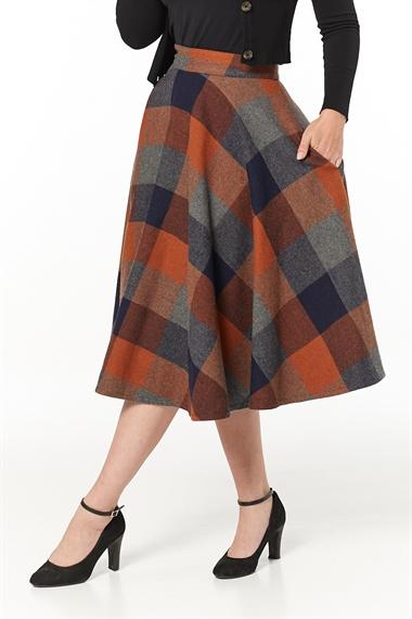 Timeless 40s Sophie Wool Rockabilly Check Rust Skirt