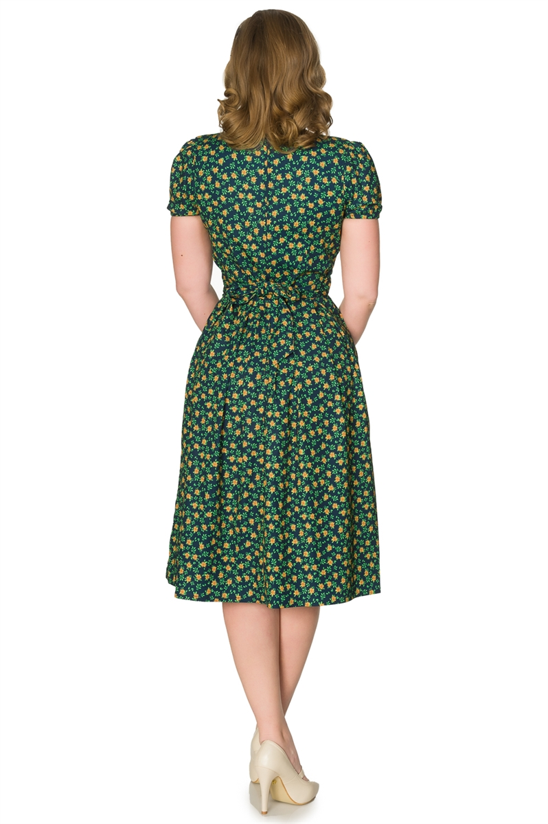 Timeless 50s Lulu Floral Swing Dress in Navy