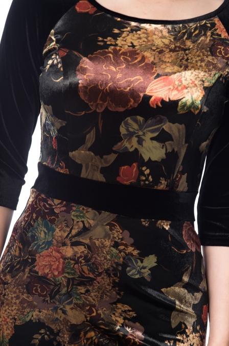 Velvet Autumn Floral Pencil Penelope Dress
