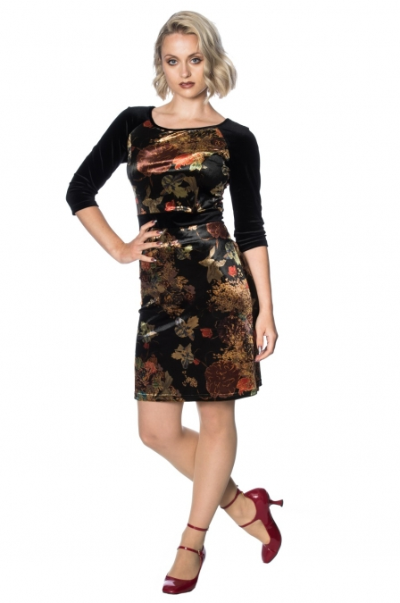 Velvet Autumn Floral Pencil Penelope Dress