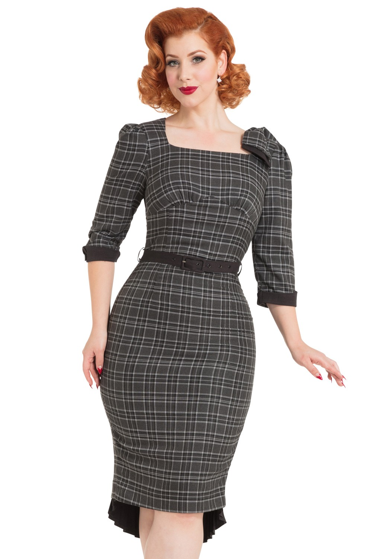Vixen Veronica Tartan Grey Pencil Dress