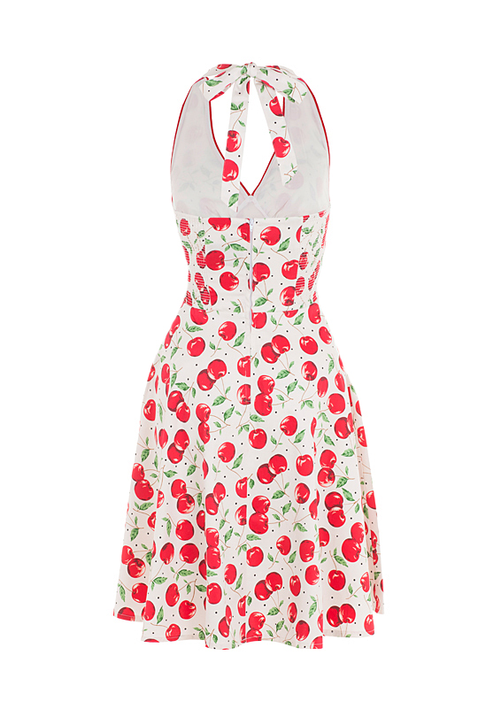 Voodoo Vixen Cherry Halter Prom Sun Dress