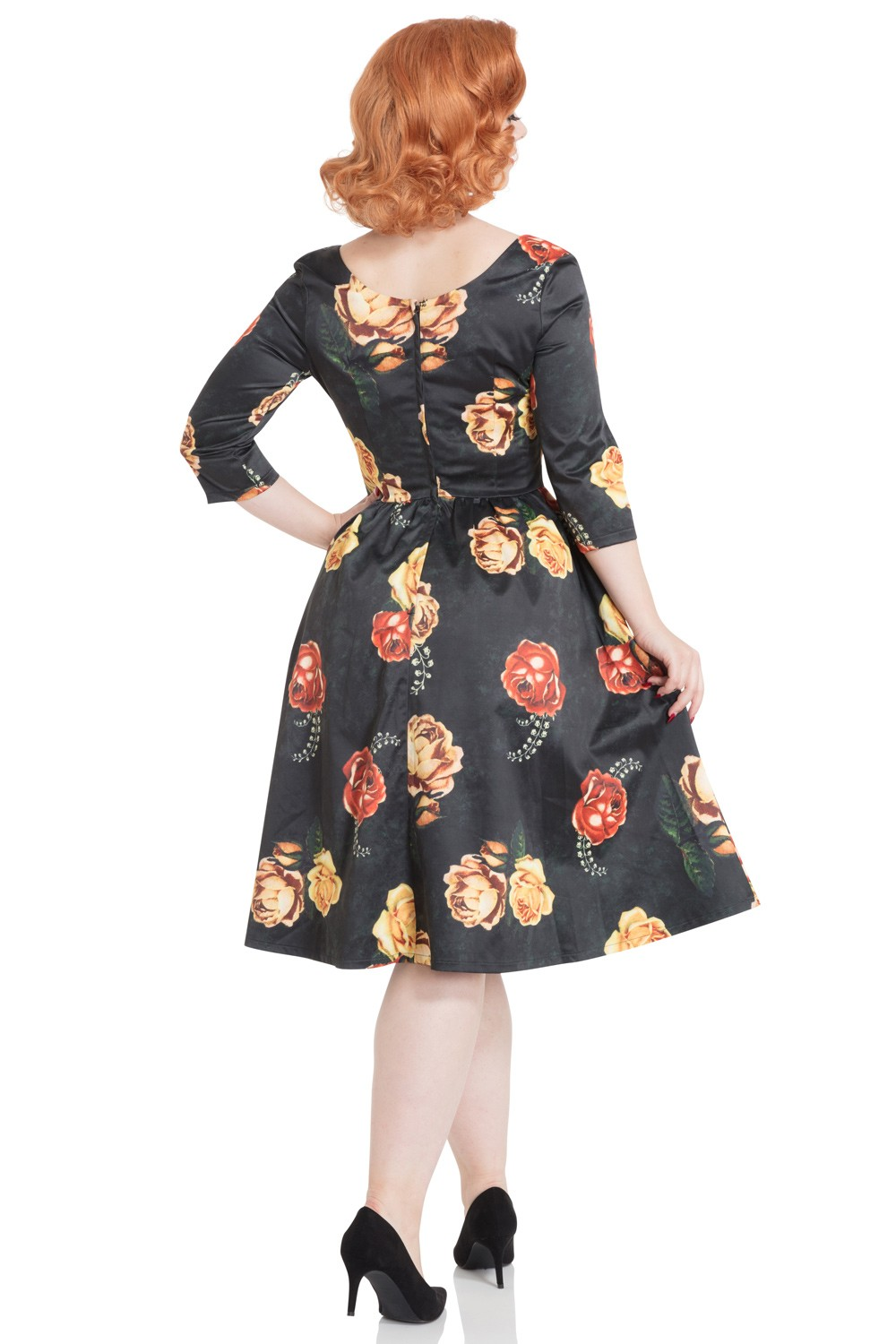 50s Vixen Meg Floral Swing Black Dress