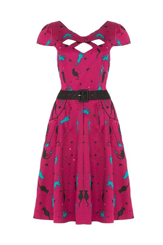Voodoo Vixen Charlotte 1950s Cat Dress