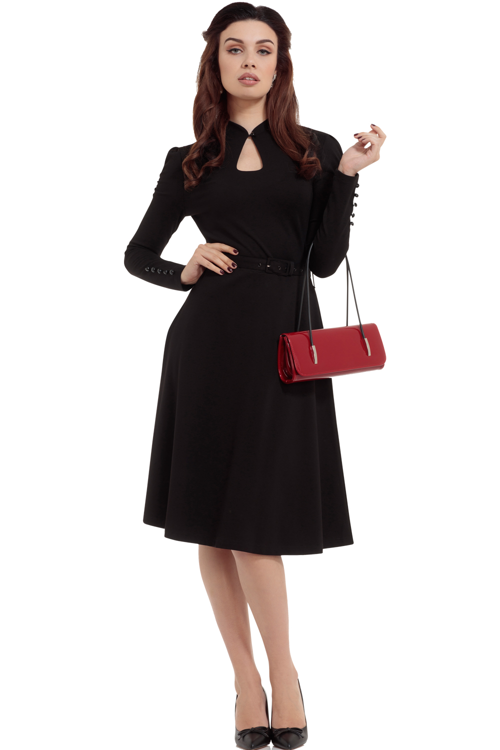 Voodoo Vixen Black Dita 1950s Swing Dress