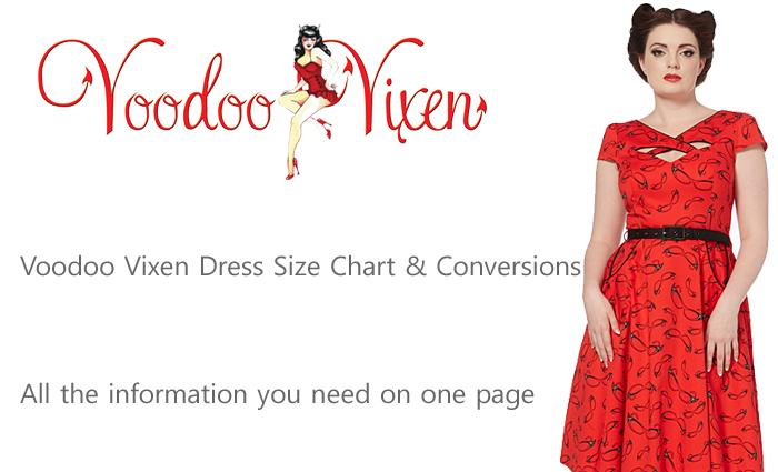 Voodoo Vixen Dress Size Chart