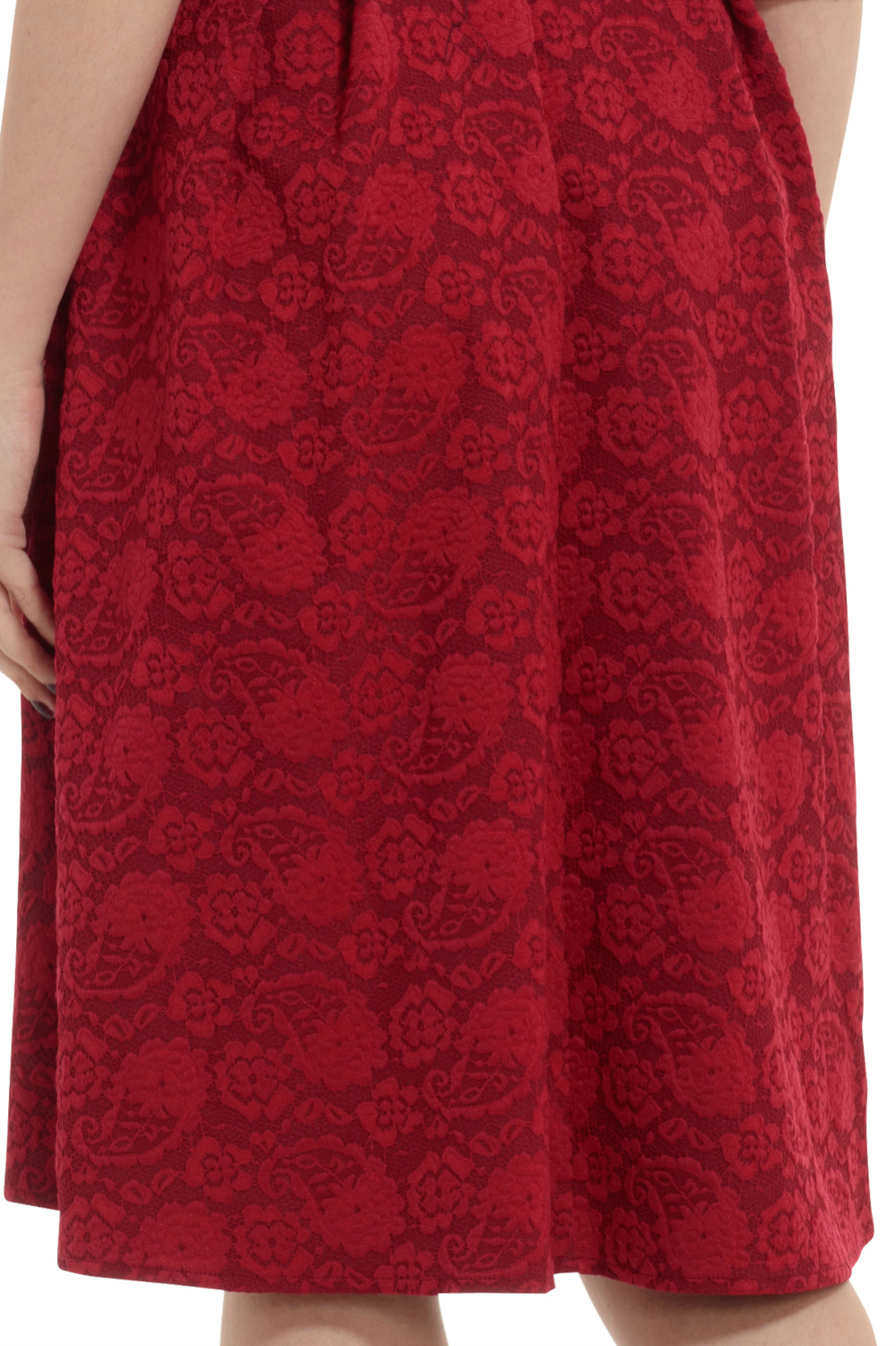 Vixen 50s Jane Jacquard Swing Dress in Burgundy Red