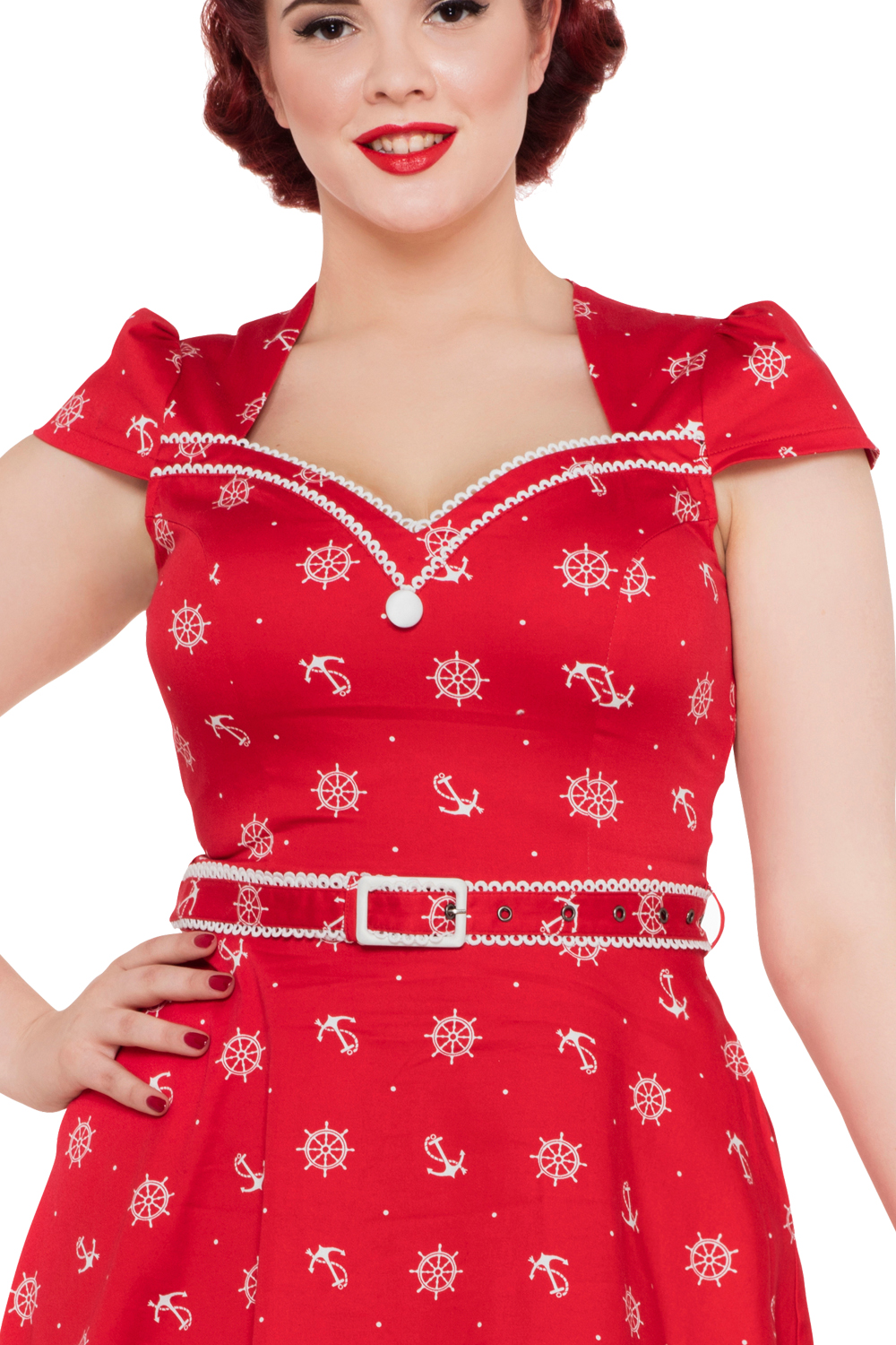 Voodoo Vixen Red Nautical Rockabilly Dress