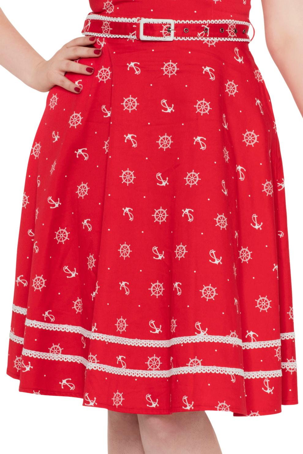 Voodoo Vixen Red Nautical Rockabilly Dress