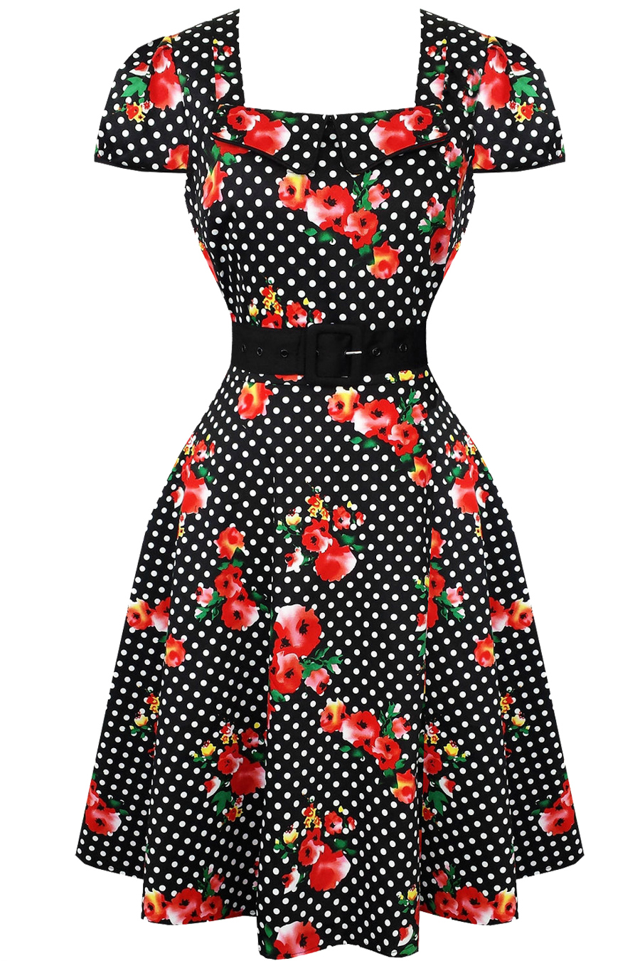 Voodoo Vixen Floral Polka Dot Vintage Dress