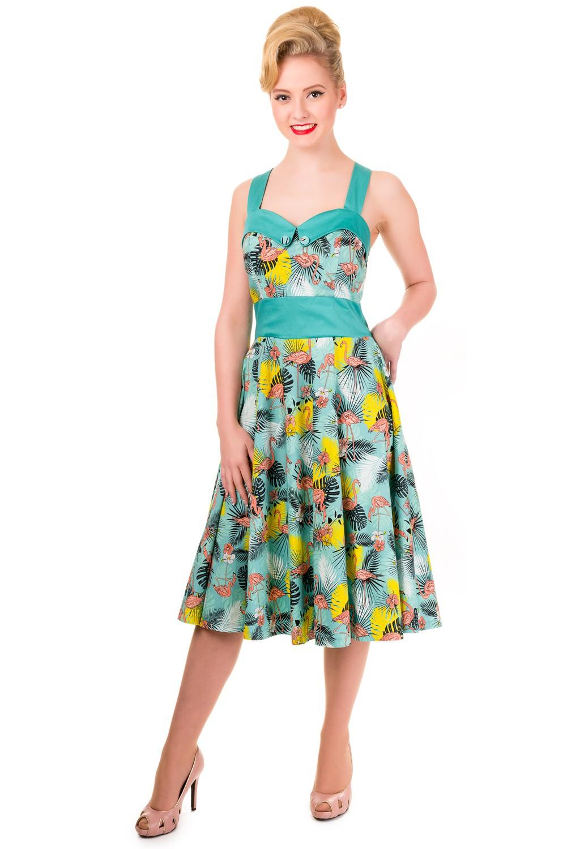 Banned Wanderlust Tropical Flamingo Rockabilly Dress