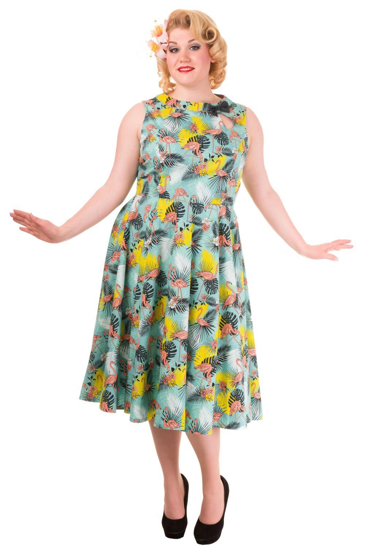 Banned Wonderlust Tropical Flamingo Rockabilly Plus Size Dress