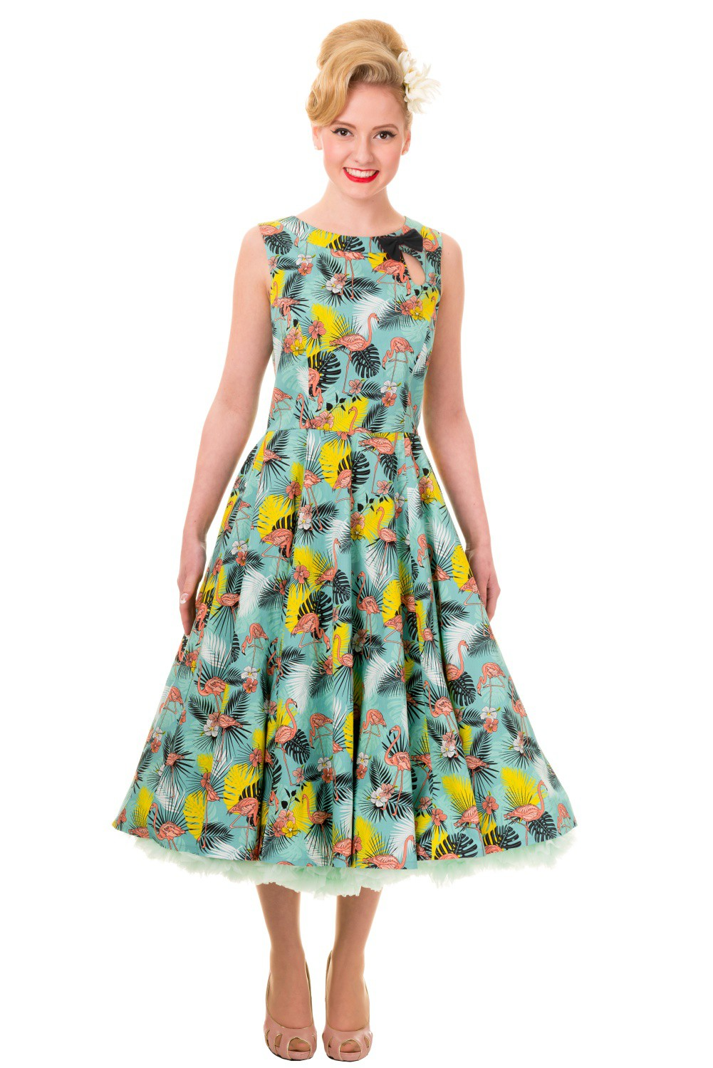 Banned Wonderlust Tropical Flamingo Rockabilly Dress