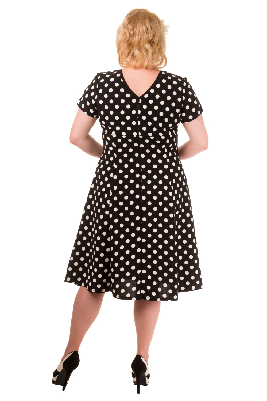 Banned Vintage Black Polka Dot Wonderwall 1940s Plus Size Dress