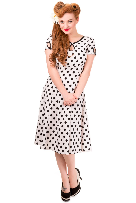 Banned Vintage White Polka Dot Wonderwall 1940s Dress
