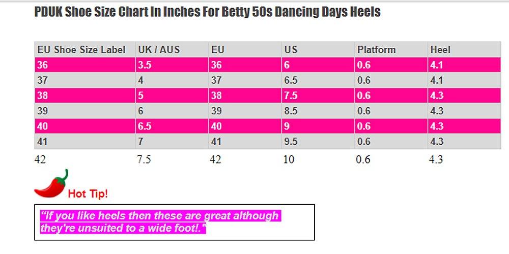 Dancing Days Betty T Bar Shoes Size Chart