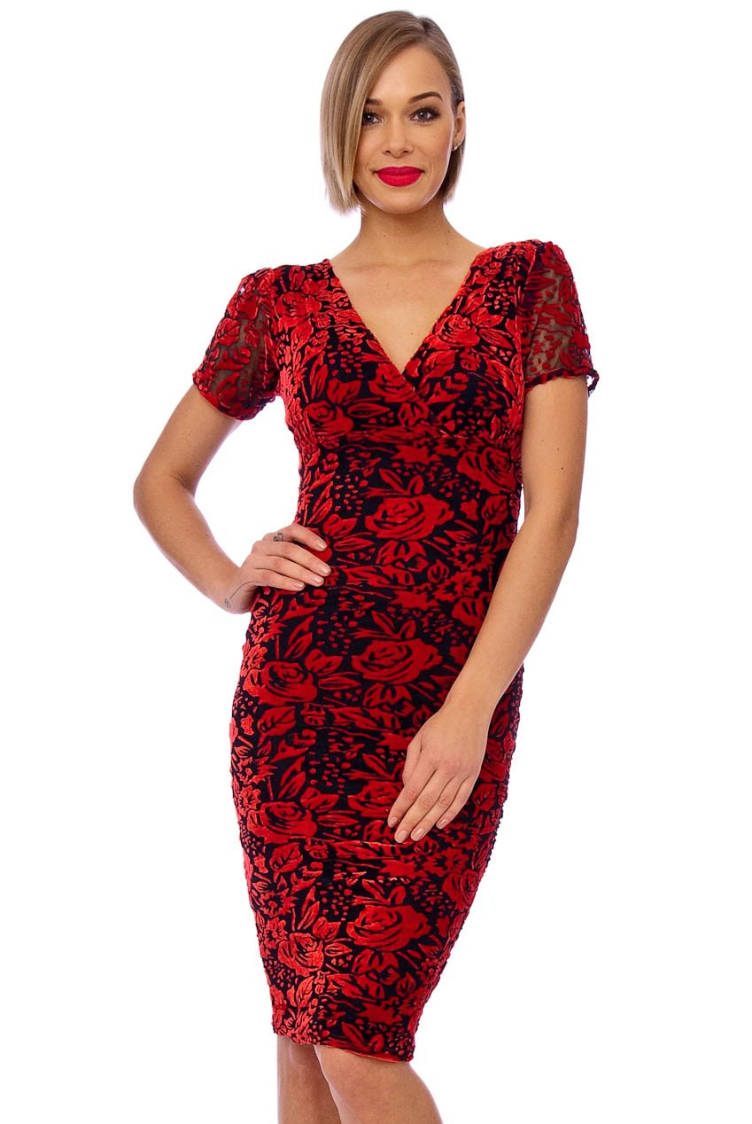 Vintage 50s Red Savannah Velvet Floral Dress