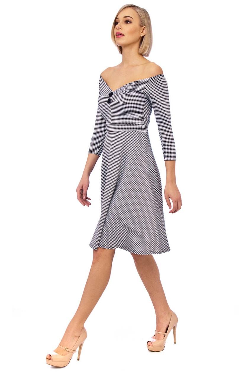 Christelle 50s Gingham Bardot Swing Dress In Black And White