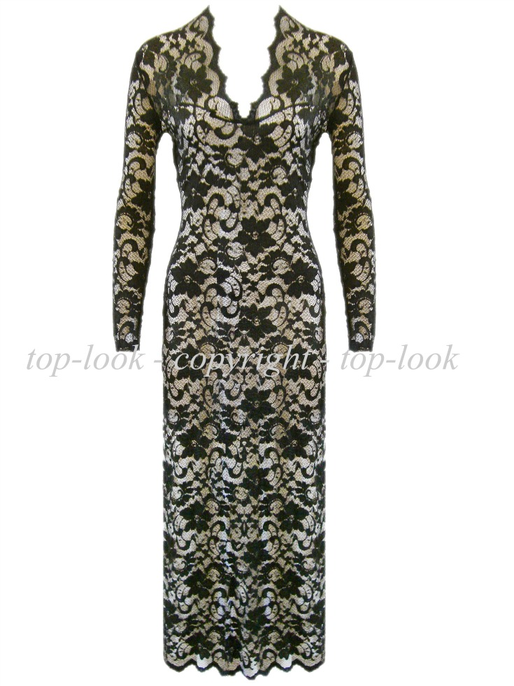 Go To John Zack Black / Neutral Lace Dress
