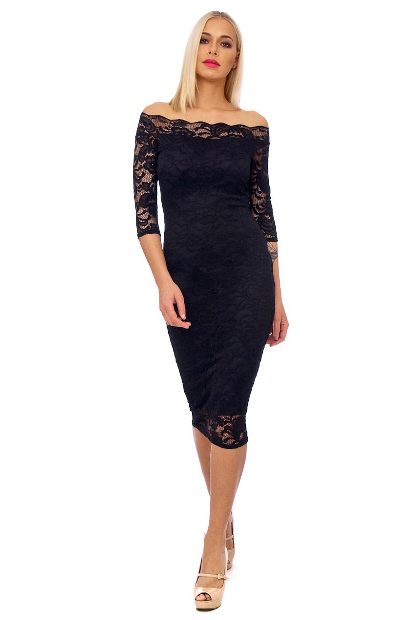 50s Julie Black Scalloped Lace Pencil Dress
