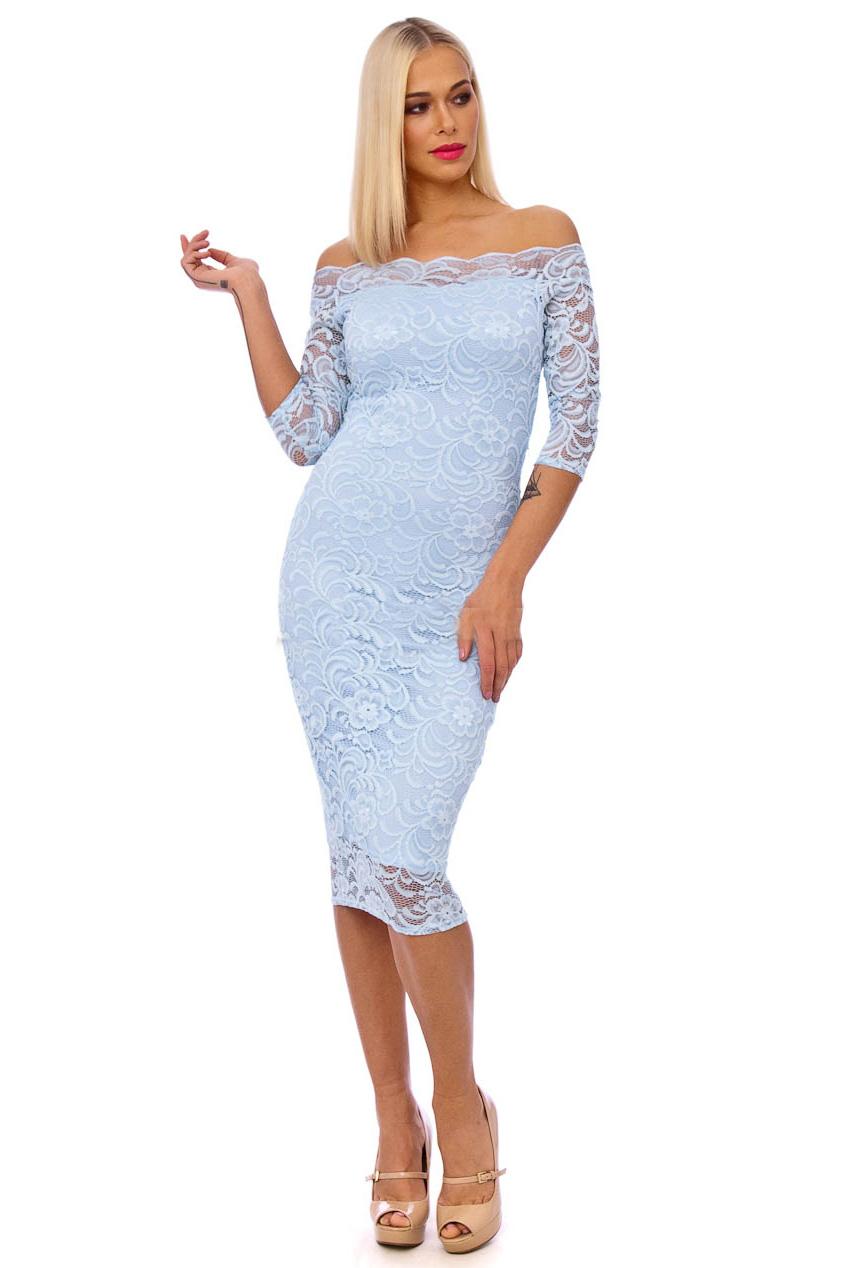 50s Julie Blue Scalloped Lace Pencil Dress