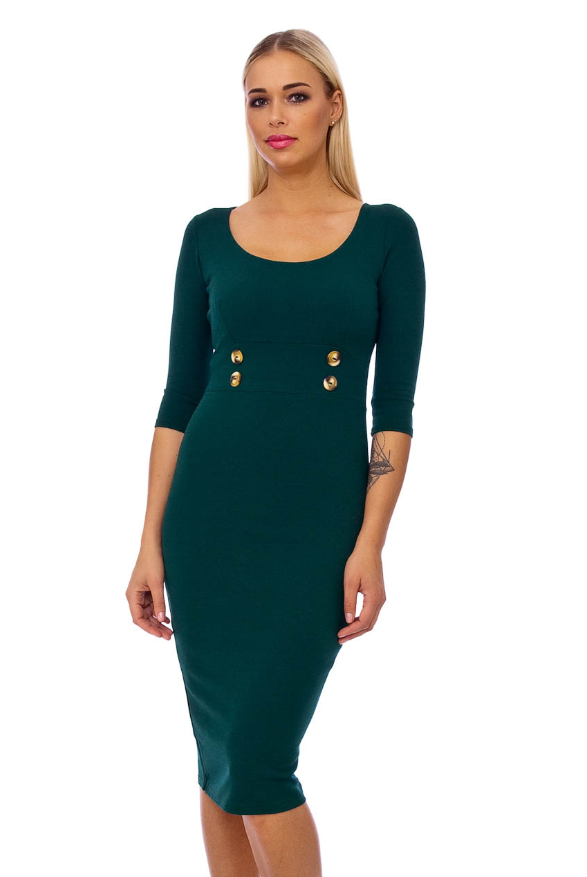 50s Lilly Pencil Midi Dress In Green