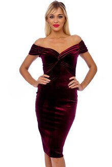 Vintage 50s Claret Marilyn Velvet Wiggle Dress