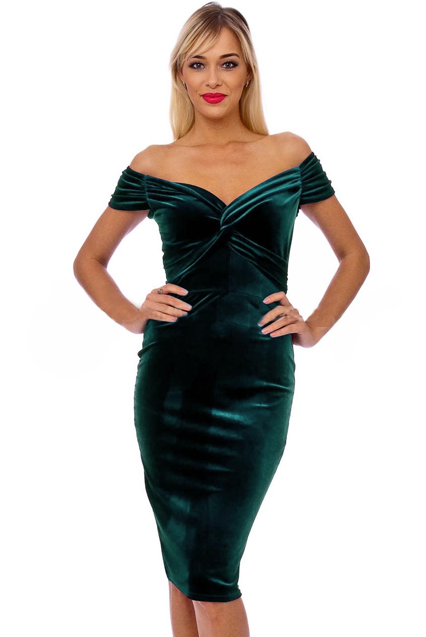 Vintage 50s Green Marilyn Velvet Wiggle Dress