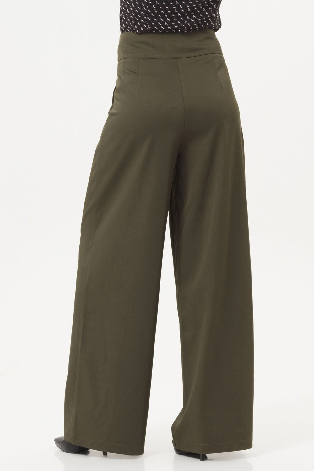 40s Ola Palazzo Trousers In Olive Green