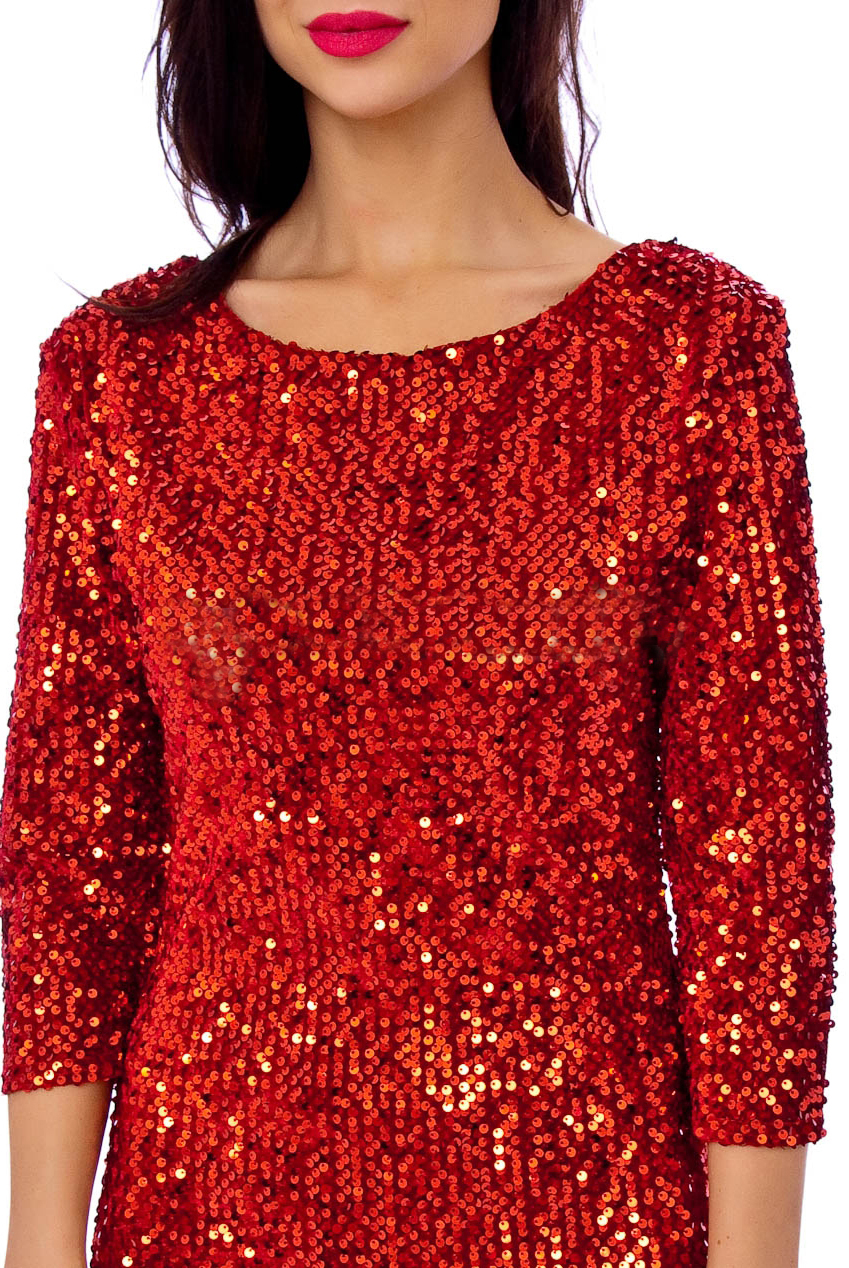 Vintage Red Big Sequin Abby 50s Pencil Dress