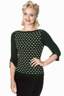 Retro 60s Charming Heart Knit Green Sweater