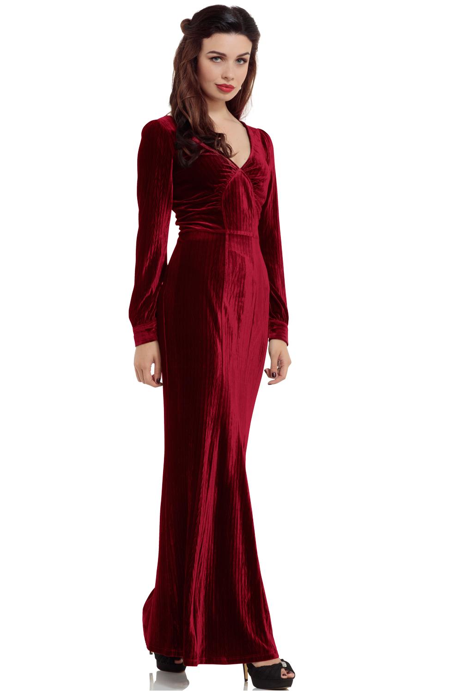 30s Vixen Olive Wine Red Glamour Velvet Dress