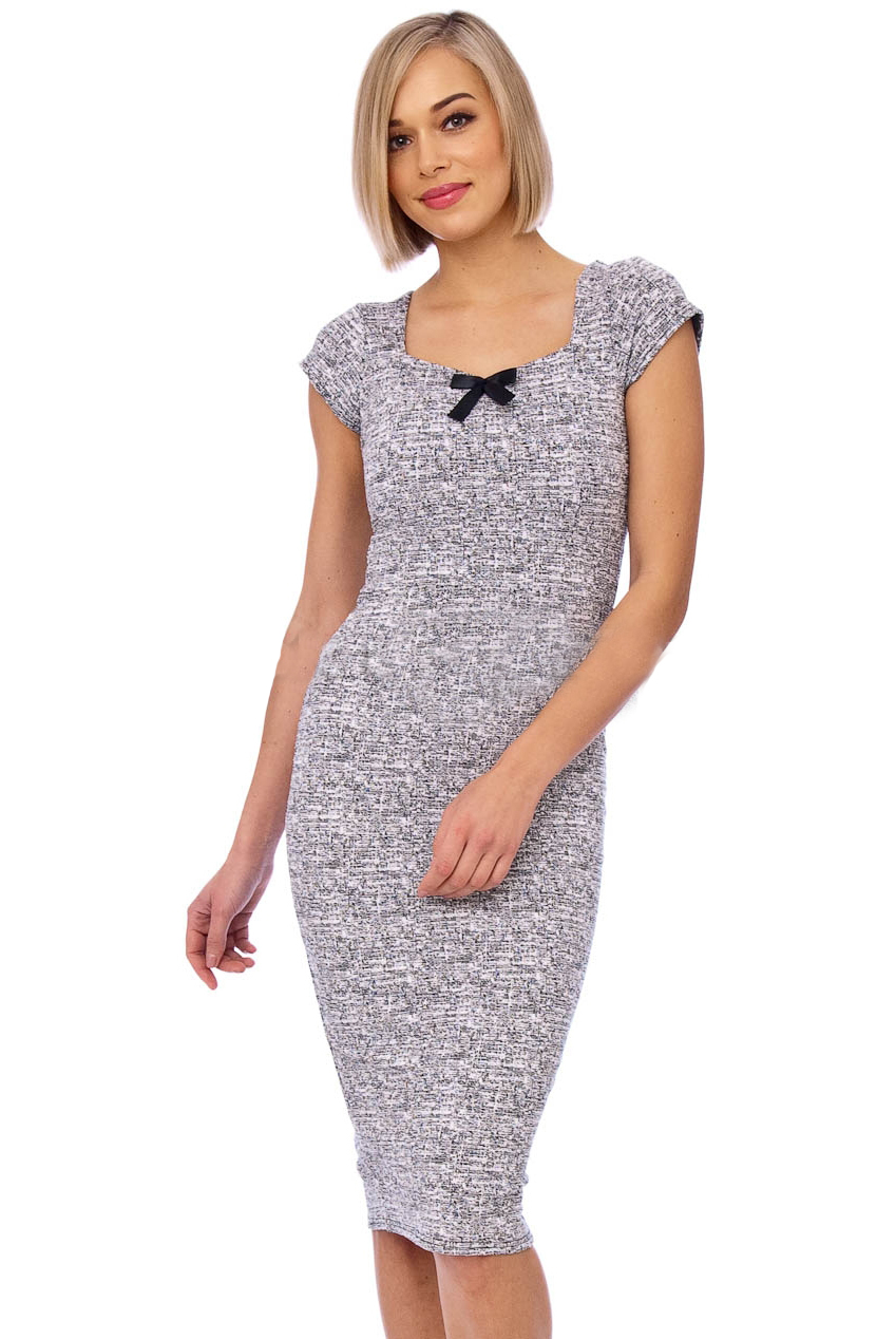 Annie 50s Bow Midi Pencil Dress In Grey